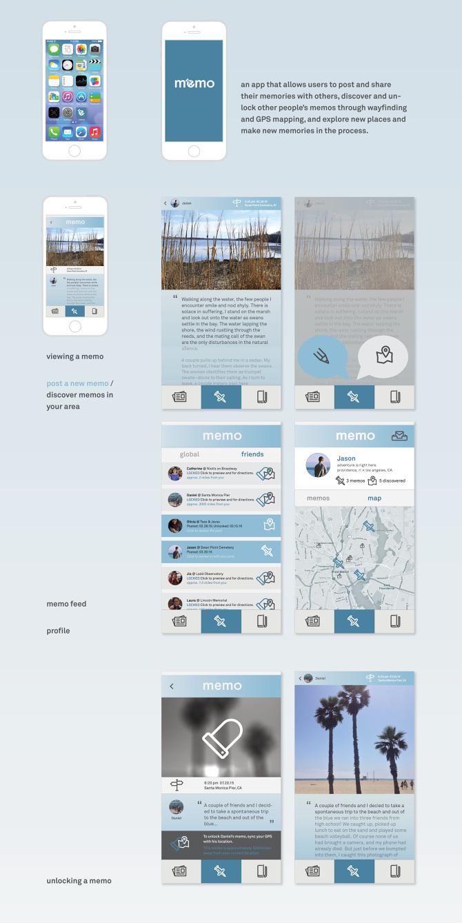 memo jason fujikuni memo front end app design promotional trailer branding wire framing ui ux a platform designed for documenting and sharing ephemeral memories